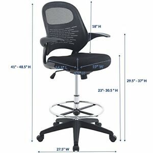 Modway Eei 2290 blk Advance Drafting Chair In Black Reception Desk Chair