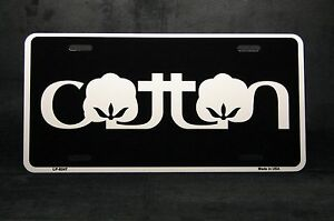 Cotton Novelty License Plate Tag For Cars And Trucks Aluminum Metal Black