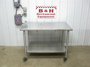 48 X 30 Mobile Stainless Steel Heavy Duty Kitchen Work Table 4 X 2 6