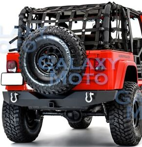 Full Width Rock Crawler Rear Bumper 2 Hitch D Rings For 97 06 Jeep Wrangler Tj