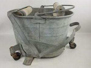 Vintage De Luxe Galvanized Metal Wringer Mop Bucket On Wheels Wood Rollers