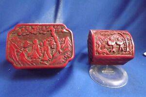 2 Antique Chinese Carved Figure Landscape Red Lacquer Cinnabar Boxes1 Signed