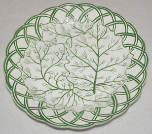 Antique English Porcelain Creamware Plate Green Molded Leaf Faux Reticulated