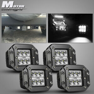 4x Flush Mount 18w Led Cubic Pod Reverse Lights For Truck Jeep Off road Atv Ford