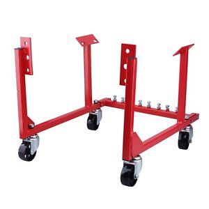 Max Load 1000 Lb Auto Engine Cradle Stand Chevrolet Chevy V8 W Dolly Wheels Red