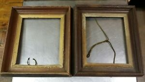 Pair Of Antique 2 Deep Well Gilt Walnut Picture Frames 16x18 Out 10x12 In 3 W