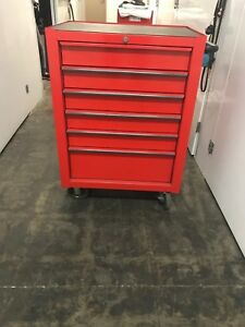 Snap on Tool Box Roll Cab Single Bank 6 Drawers Red With Tools
