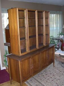 Danish Mid Century Modern Walnut Lane China Cabinet Perfect Shape