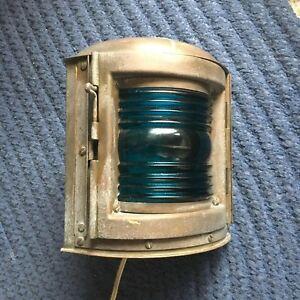 Antique Chris Craft Electric Perko Nautical Ship Boat Light Lantern Green Blue