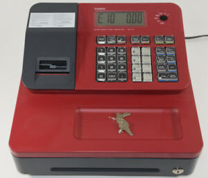 Casio Electronic Red Cash Register Se g1 Excellent W Keys Thermal Print