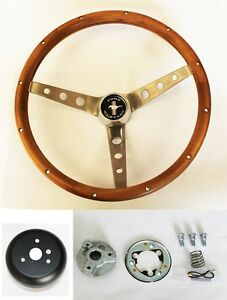 1965 1969 Ford Mustang Grant Steering Wheel Wood Walnut 15 Cast High Rise Cap