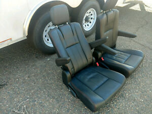 Black Leather Bucket Seats Pair Hotrod Jeep Truck Van Bus Humvee Red Stitched