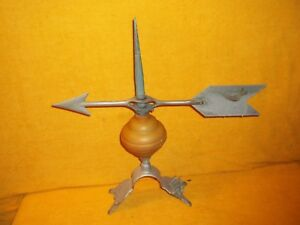 Vtg 17 Aluminum Arrow Weathervane On 12 Lightning Rod With Base Pat 1928