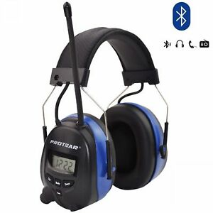 Protear Rechargeable Lithium Battery Bluetooth Radio Am fm Safety Earmu New