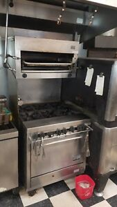 Southbend Gas Six Burner Stove With Under Oven And Over Salamander cheese Melter