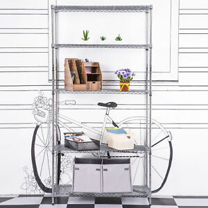 59 Heavy Duty 5 Tier Layer Shelf Steel Wire Shelving Storage Shelf Rack Silver