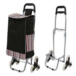 Folding Shopping Rolling Wheels Cart Waterproof Canvas Bag For Laundry Grocery