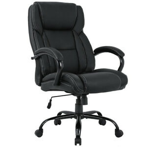 High back Big And Tall Office Chair Pu Leather Executive Chair W Lumbar Support