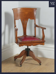 Antique Edwardian Art Nouveau Oak Red Leather Revolving Office Desk Arm Chair