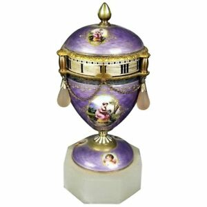 Antique French Purple Guilloche Enamel Rotary Clock