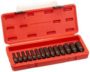 New Sunex Tools 1 4 Drive 14 Piece Metric Deep Magnetic Impact Socket Set 1831