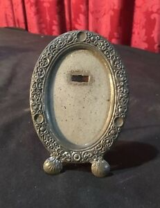 Vintage Antique Victorian Miniature Oval Embossed Easel Back Picture Frame