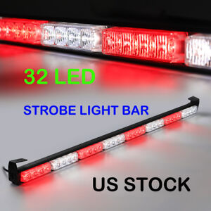 Ascent Emergency Traffic Advisor Strobe Light Bar Warning Red White 32 Led 35 5