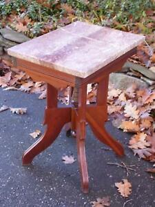 Antique Walnut Victorian Eastlake Marble Top Parlor Table Plant Stand Occasional