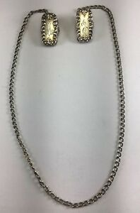 Antique C1885 Foster Bailey Sterling Silver Sweater Clips Original Chain M59
