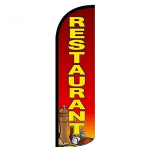 Restaurant Swooper Flag Only Windless 3 Wide Sign Banner Red Yellow