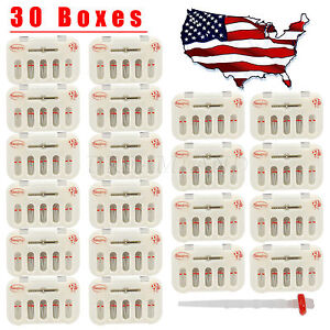 30 Packs Dental Fiber Post Resin Post Screw Thread Quartz Drills Usa Stock Red