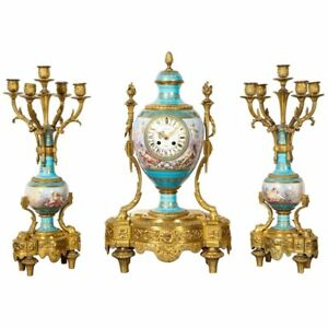 Exceptional French Ormolu Mounted Turquoise Jeweled Sevres Porcelain Clock Set