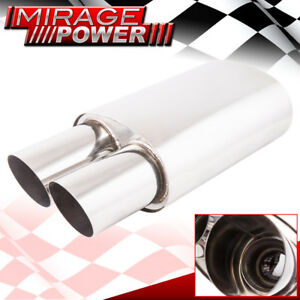 Universal Dual Slant Tips Muffler 3 5 Inch High Flow 2 5 Exhaust Replacement
