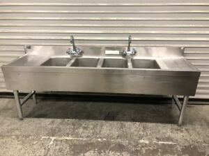 4 Compartment Bar Sink Under Back Faucet Drain Boards Supreme 9176 Stainless