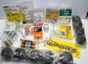 Lot Of Electrical Industrial Hardware Fuses Casters E Z Ancor Screws Brass Hooks