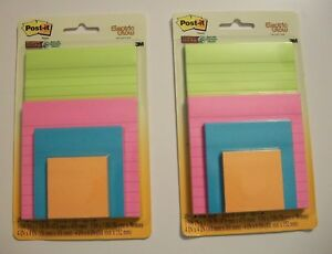 2pk Post it Notes Pads 3m Super Sticky Electric Glow Collection 4 pack