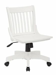 Office Star Deluxe Armless Wood Bankers Desk Chair With Wood Seat White