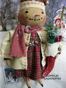 Primitive Doll Christmas Pattern Snowman Girl By Dumplinragamuffin