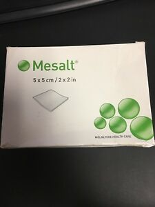 New Mesalt Sodium Chloride Wound Dressing 30 Count 5x5 Cm 2x2 In