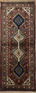 Perfect Persian 1940s Antique Yalameh Rug Tribal Oriental Carpet 2 X 5 Ft