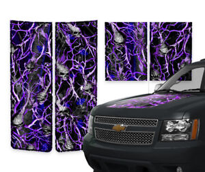 Chevy Avalanche Truck Racing Stripes Hood Gate Decals Purple Skull Camo 2000 06