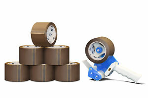 3 X 110 Yard 330 Brown tan Packing Tape 2 Mil 12 Rolls Free 3 Dispenser