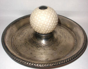 Vintage Frank Whiting Sterling Silver Golf Ball Key Coin Change Tray Ashtray
