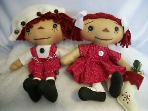Primitive Doll Raggedy Annie Andy Dolls Christmas Collectibles Handmade