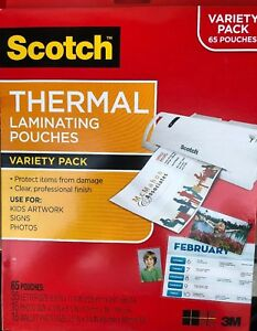 Scotch Thermal Laminating Pouches Variety Pack 65 Pouches Total 2 Packs In Box