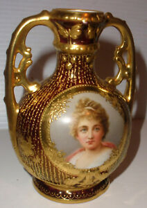 Exquisite Antique Palais Royal Vienna Porcelain Portrait Woman Cabinet Vase