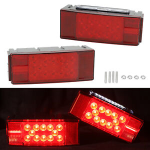 Led Trailer Boat Rectangle Stud Stop Turn Tail Lights Waterproof Red Left right