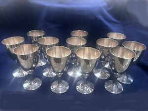 A G Schultz Sterling Silver Set 12 Goblets 22 No Mono 6 1 4 In Tall 1800 Gms