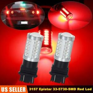 2x 3157 3156 33chips 40w Red Led Tail Light Brake Bulbs For Ford Edge