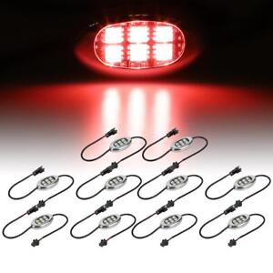 10 Pod Led Motorcycle Atv Boat Pontoon Utv Rv Neon Accent Light Kit Red